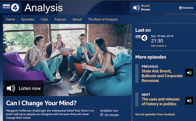 BBC Radio4 web-page advertising the radio programme mentioned in the post