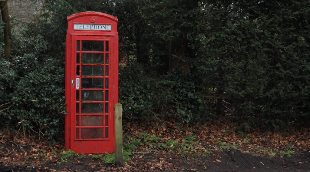 Phone box in the countryside