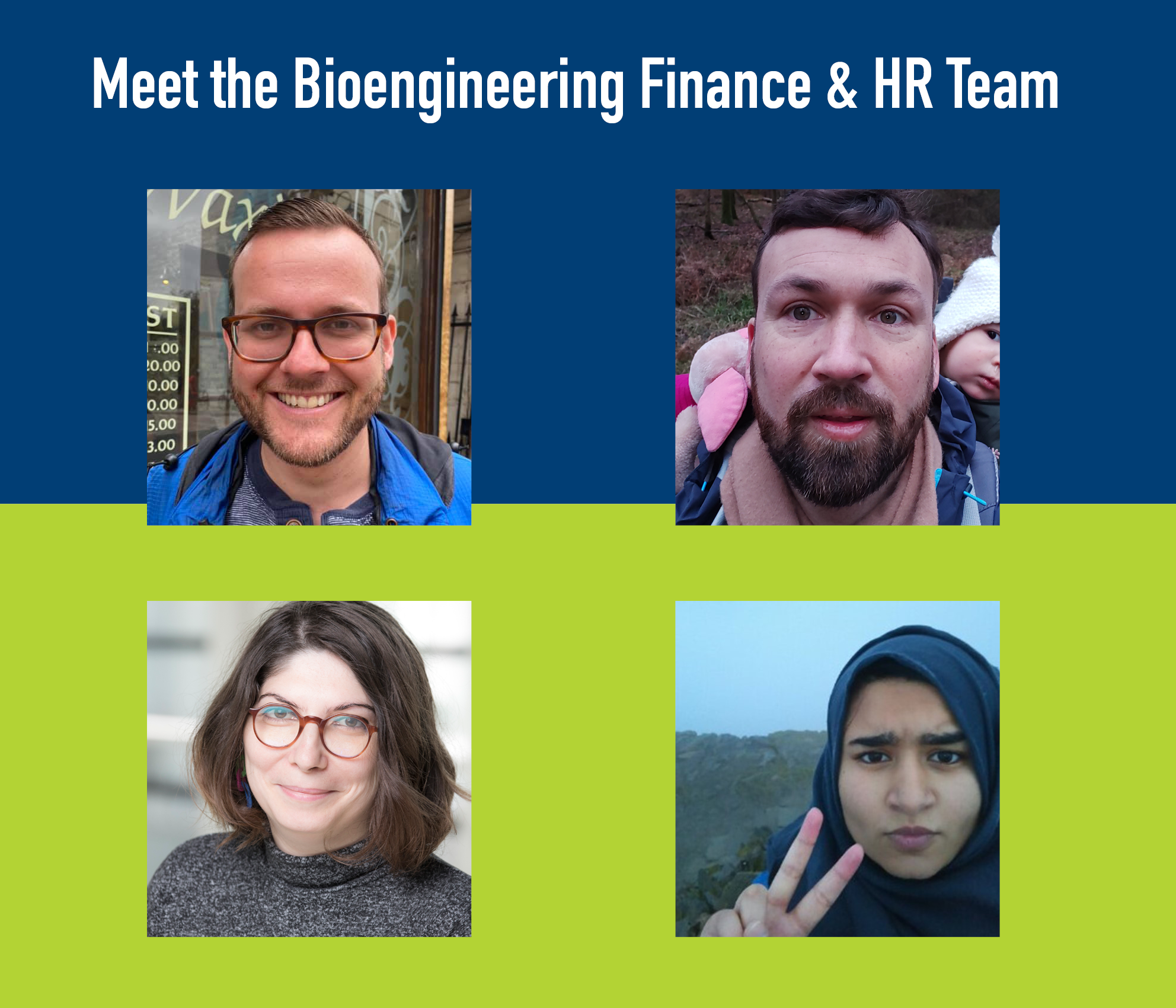 Portraits of the four members of the staff that make of the department of Bioengineering's finance team