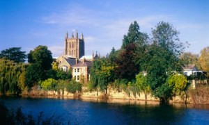 Hereford Cathedral and River Wye, Herefordshire
