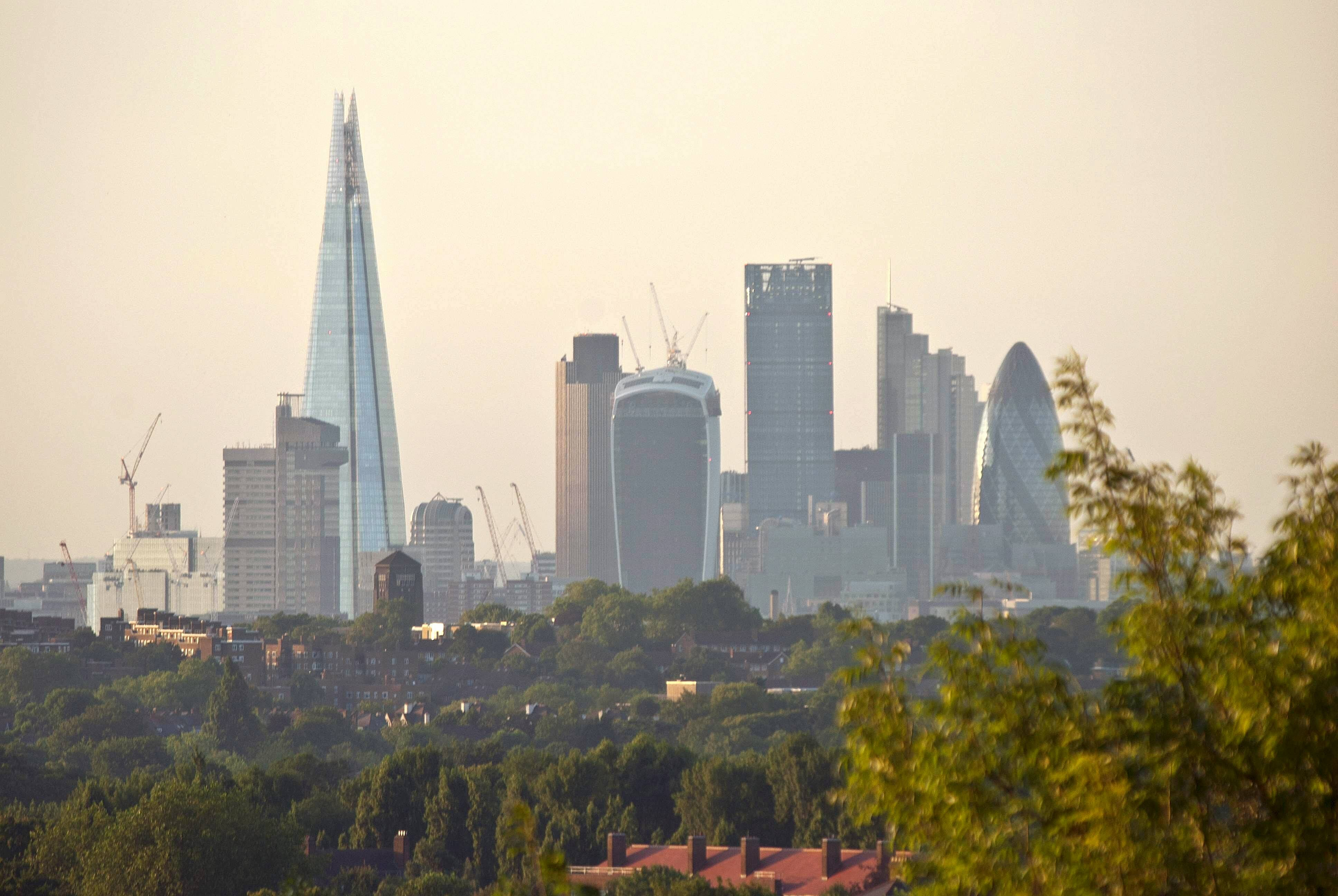 Views of the City of London from Norwood Park.