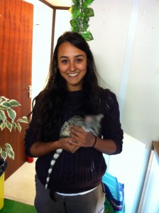 Mollie with Toto the genet - who was too quick for the camera!
