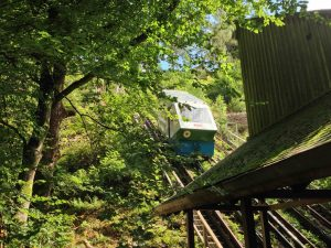 The water-powered lift for visitors.