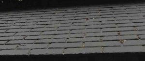 Synthetic slate roof made from car tyres