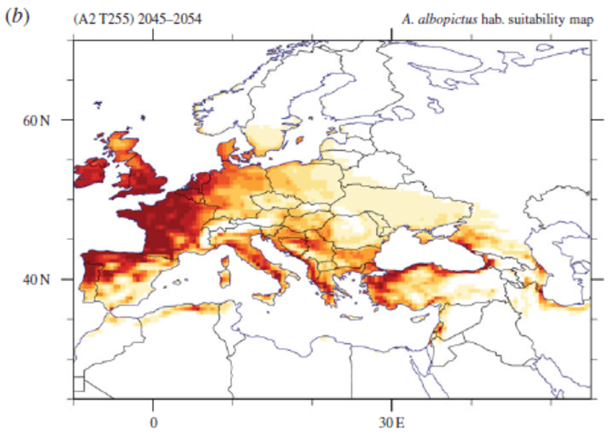 European Map Of Simulated Aedes Albopictus Habitat Suitability Based On One Future Climate Projection For The