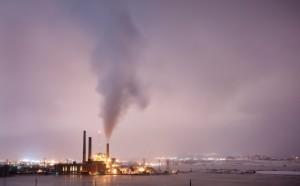 carbon emissions purple sky