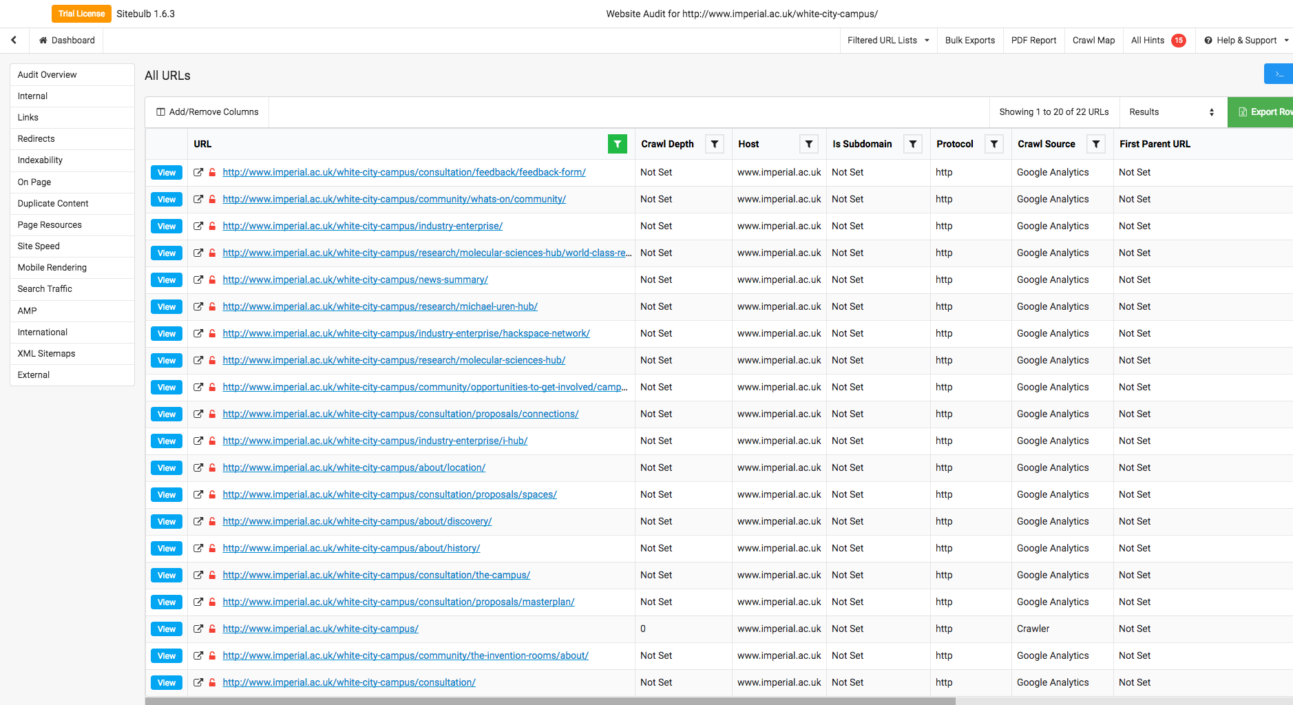 Example audit results from Sitebulb