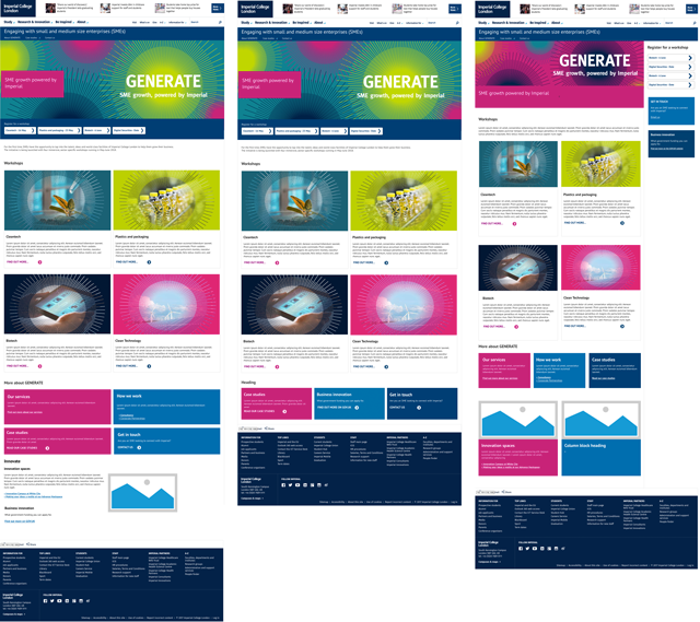 Mockups of 3 options for the new landing page