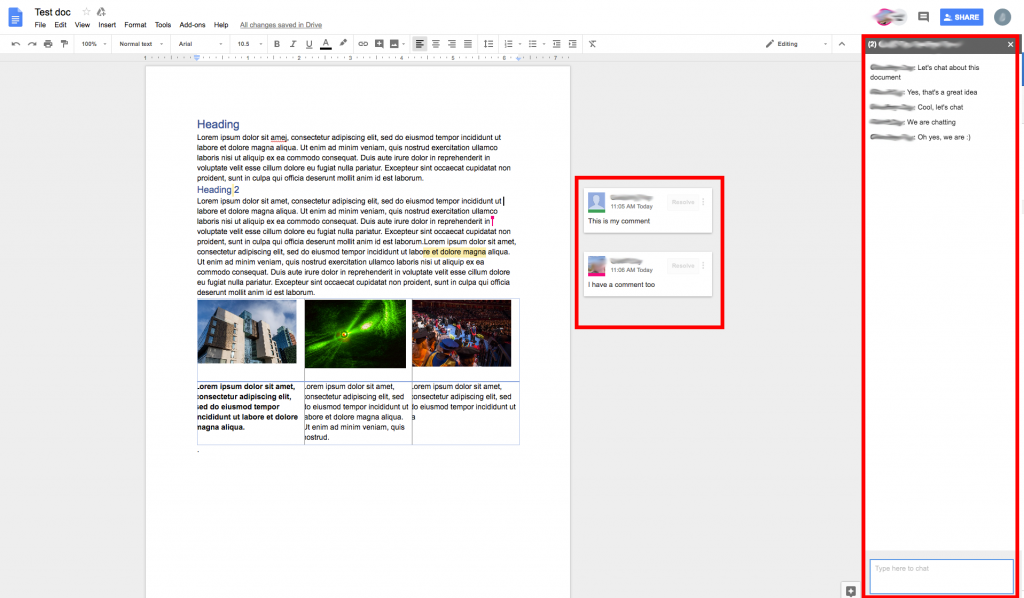 Google docs screen showing comments and the chat interface.