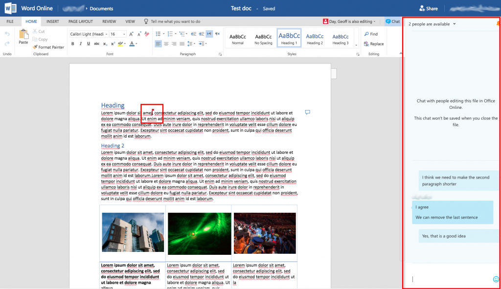 Word online interface showing the markup of changes by both users and the instant messaging (IM) chat panel.