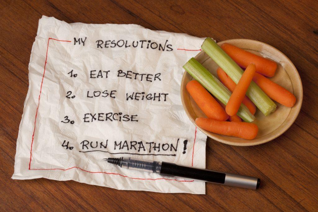 List of resolutions written on a napkin - 1. eat better, 2. lose weight, 3. exercise, 4. run marathon