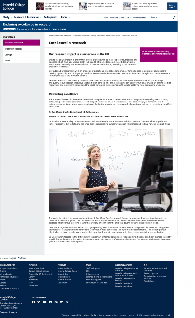 Mockup of the excellence in research page