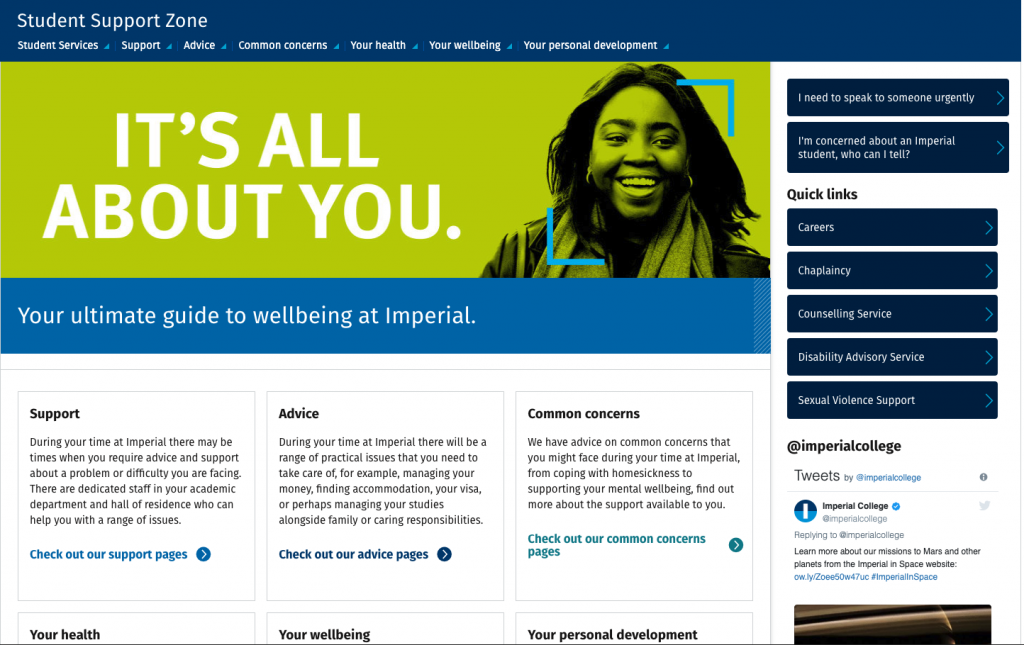 Student Support Zone homepage