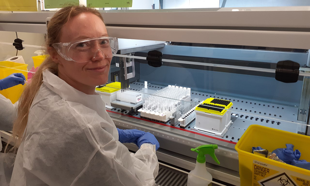 Dr Stephanie Ascough at work in the lab