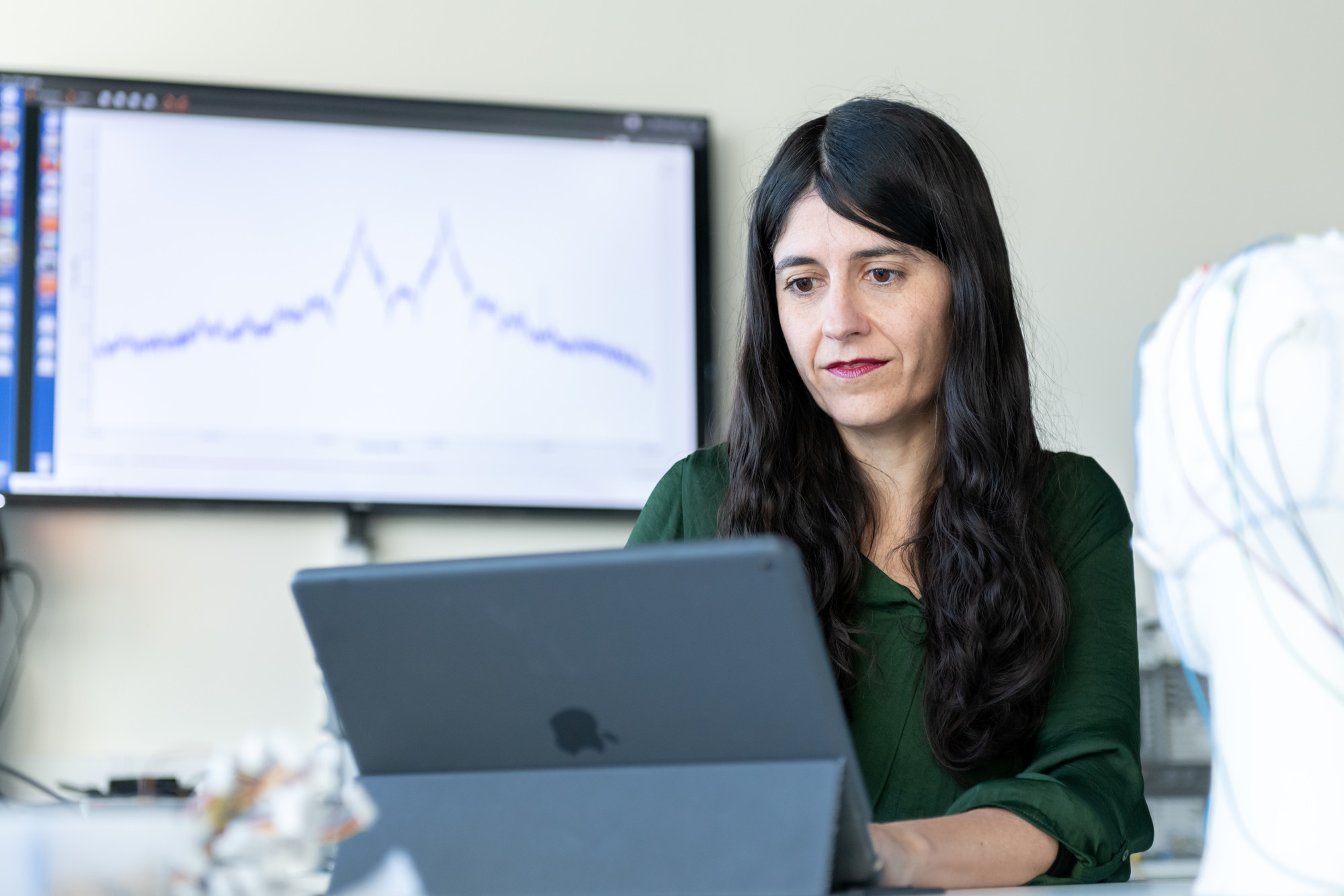 Researcher using laptop