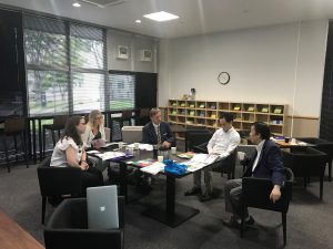 Jo, Martyn and Monika meet with colleagues at Tohoku University