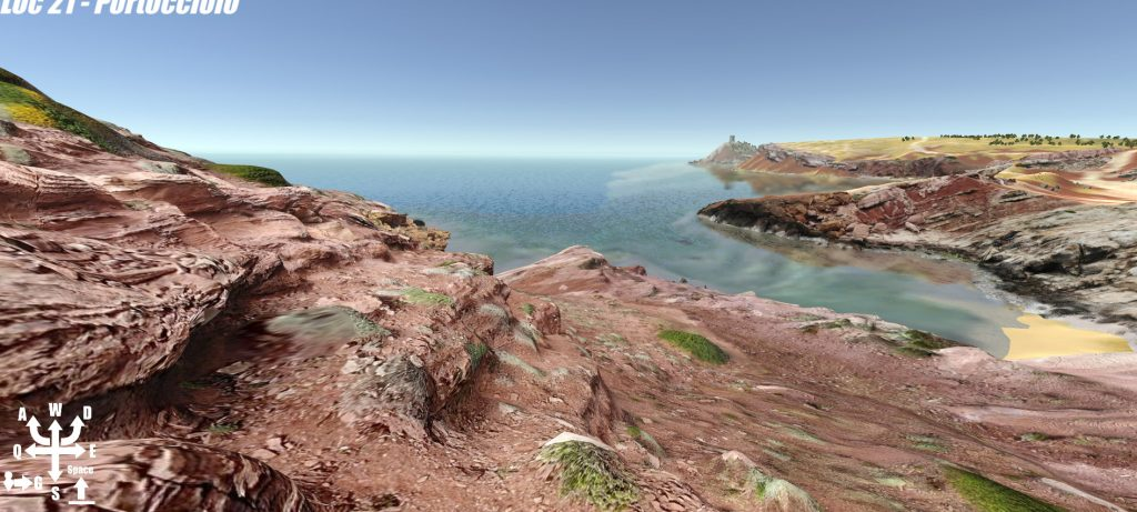 Virtual view of a rocky beach