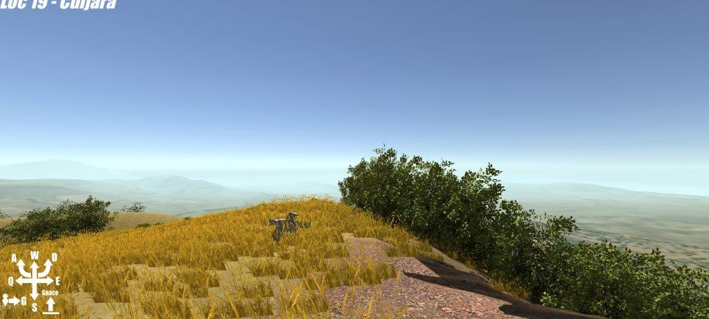 A virtual grassy hill top