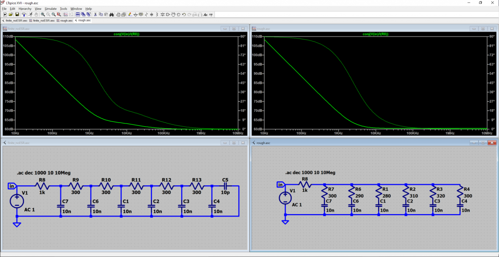 A screen shot of LT spice software showing two electrical circuits and corresponding graphs