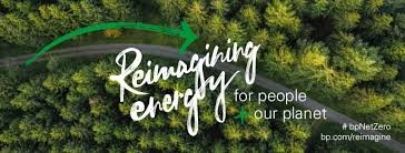 Arial shot of a forest, with text: Reimagining energy for people and our planet' with bp logo