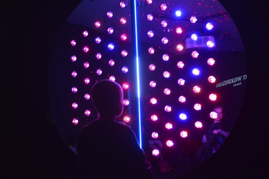 A visitor enjoys a light display in the TOMORROW lab, which united the voices of professionals and primary schoolchildren