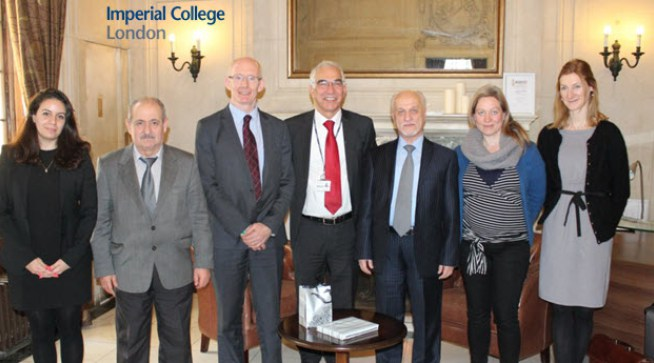 From the left: Dr Sondus Hassounah, Professor M. Almosawe, Professor A. Livingston, Professor S.Rawaf, HE Professor H. Al-Shahistrani, Ms Clare Turner, Ms E. Augustyniak
