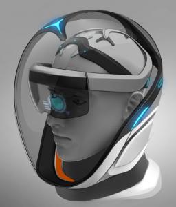 An artist's illustration of a hololens headset underneath an astronaut's helmet.