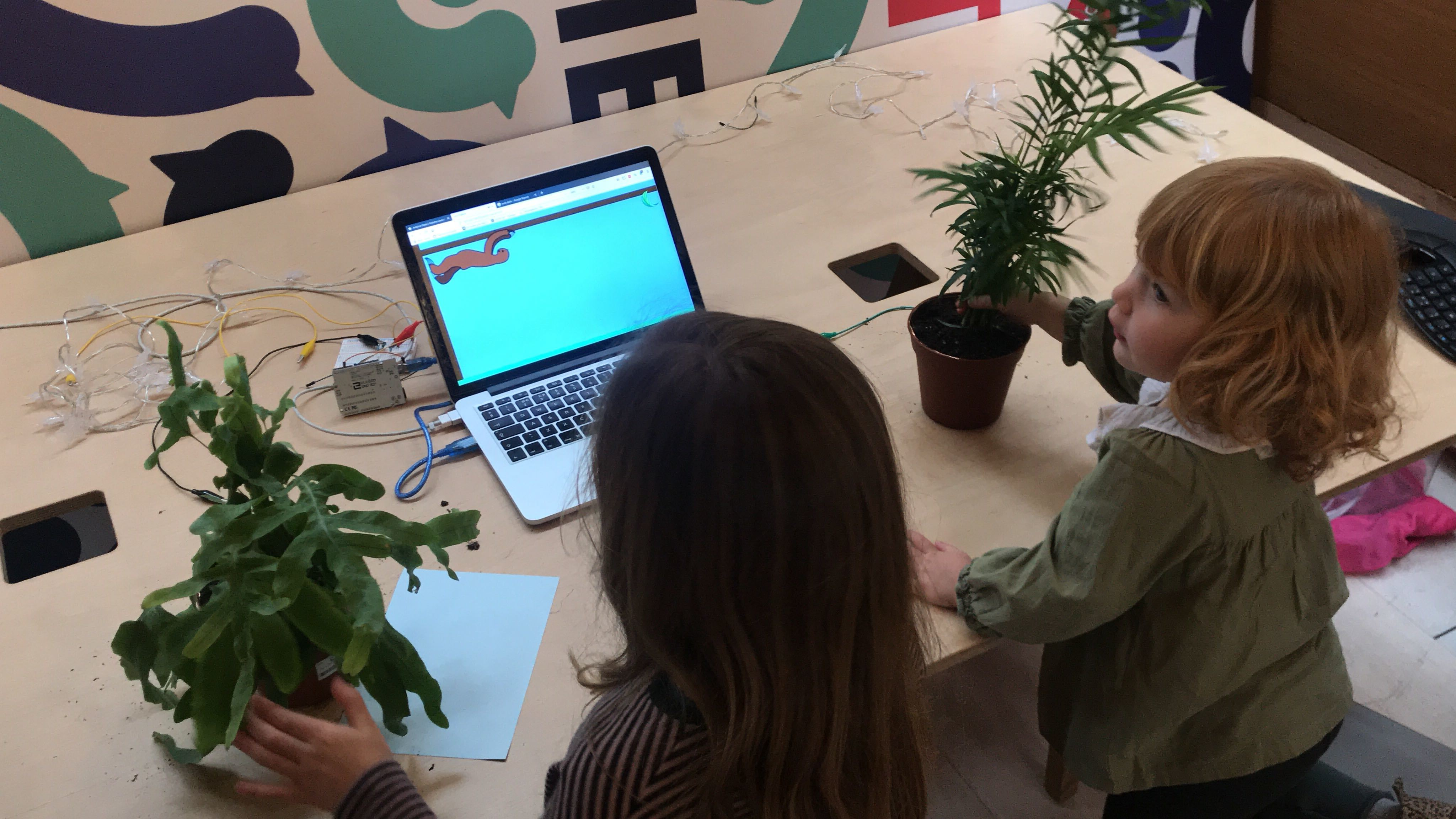 Two young girls playing a game using plants