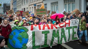 Young people protesting about climate change