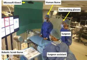 A demo of the robotic scrub nurse setp in the surgical healthcare setting