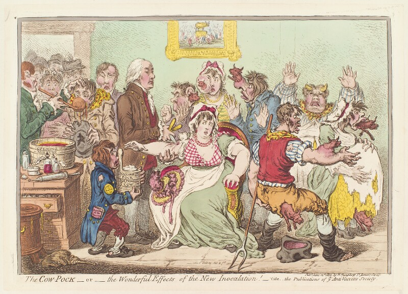 Edward Jenner ('The cow pock – or – the wonderful effects of the new inoculation!'). Image credit: National Portrait Gallery, London. CC BY-NC-ND 3.0