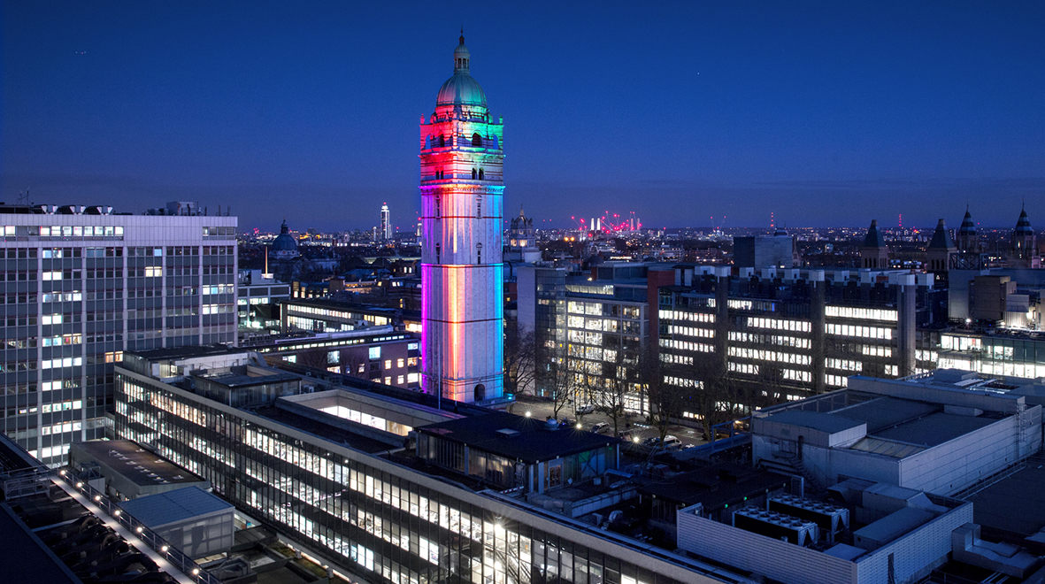 Queen's Tower lit in rainbow colours for Pride