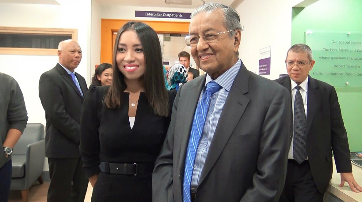 Dr Amalina Bakri with Mahathir Bin Mohamad, Prime Ministers of Malaysia
