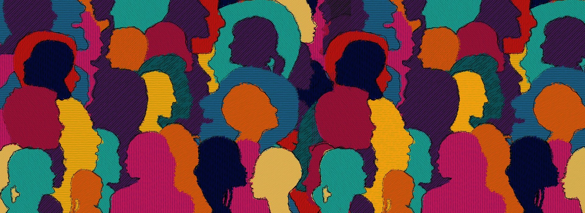 Illustration showing lots of different people's profiles in multi-colours in a collage