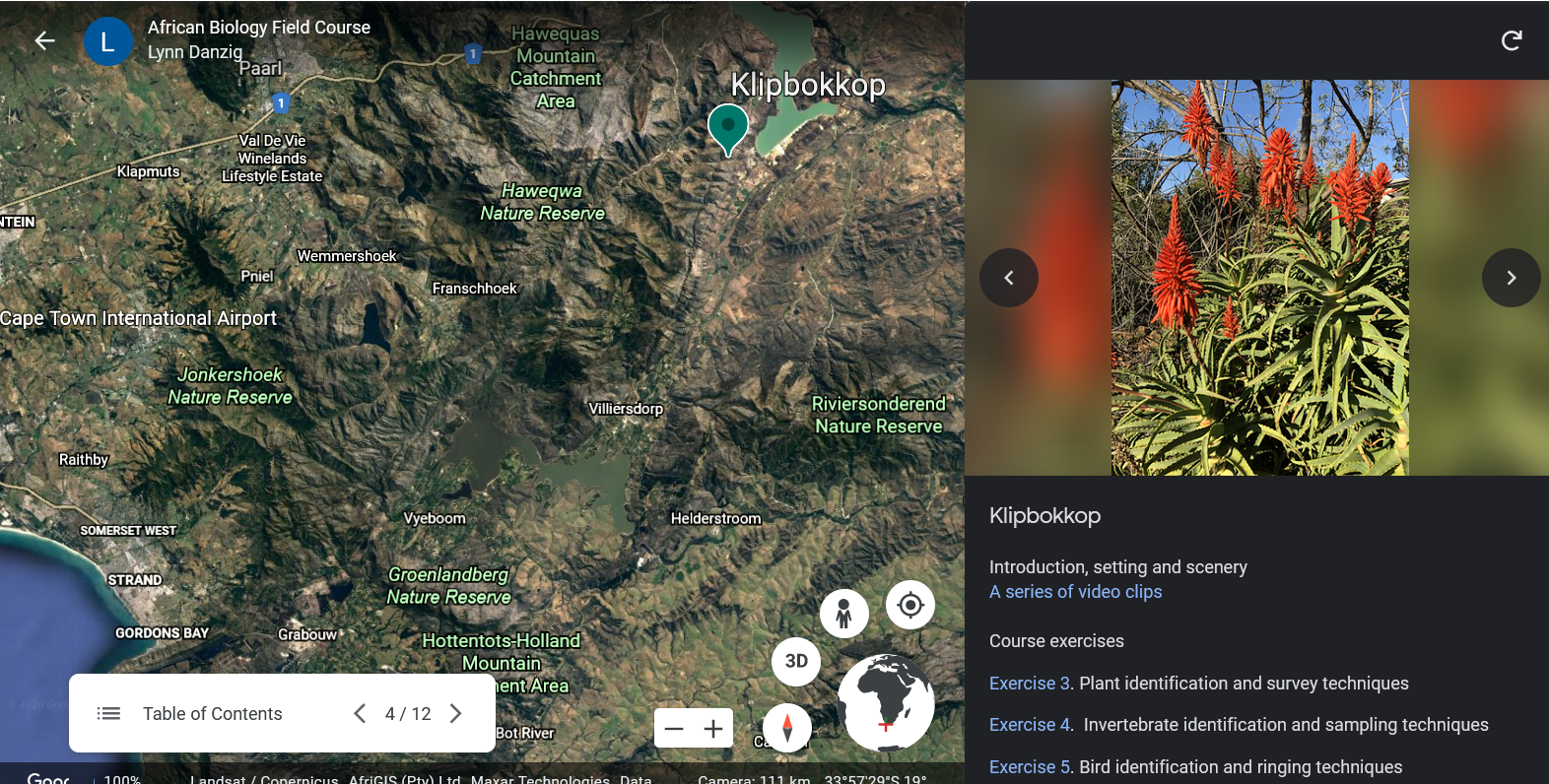 An image showing and example of the Google Earth virtual tour
