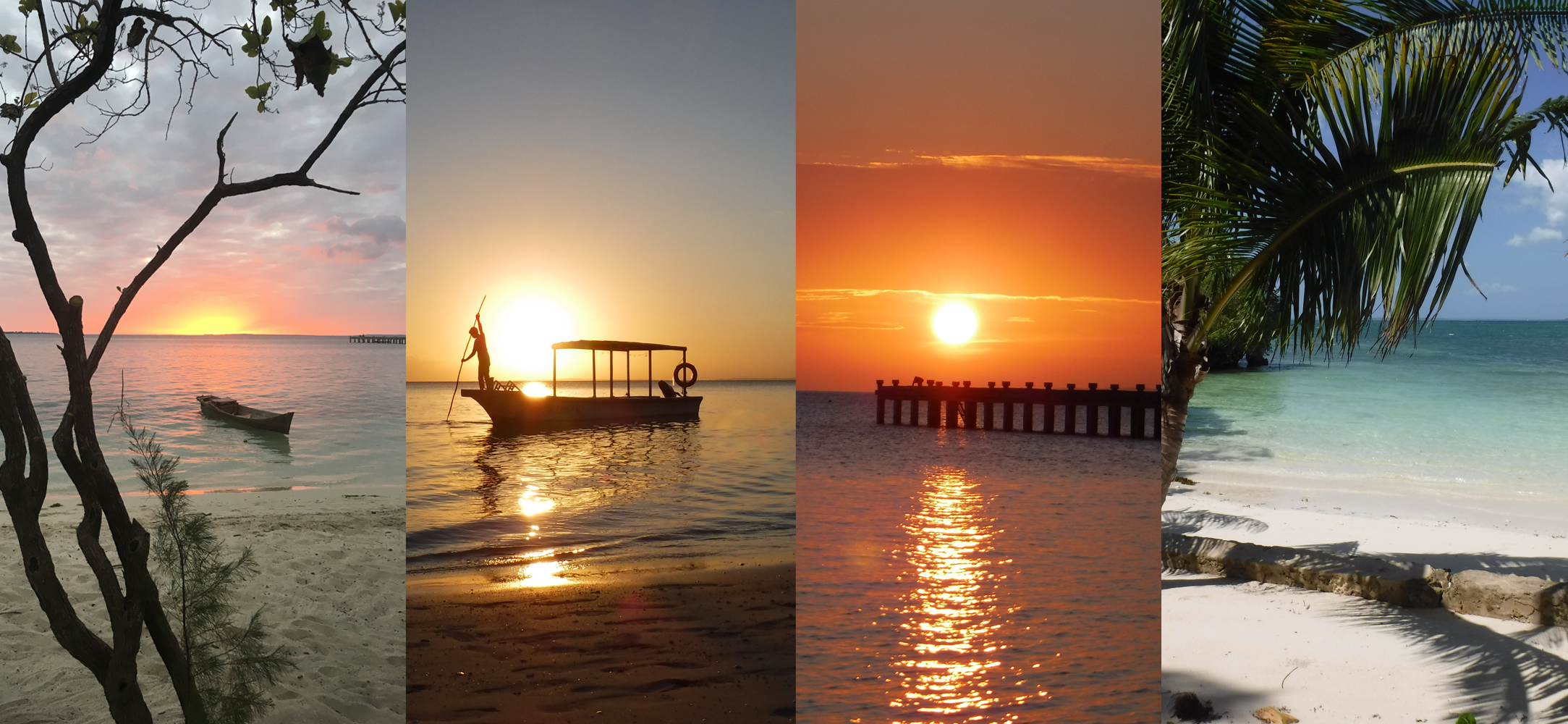 A collage of Kitty's photos of Holga Island showing beautiful beaches and sunsets