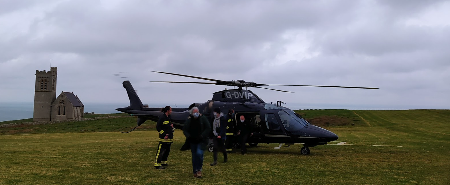 A photo showing the helicopter that took the students to the island of Lundy