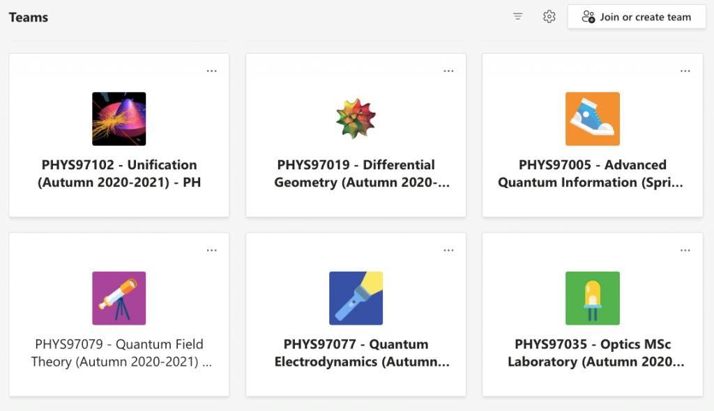 A screenshot from Teams showing different Physics modules