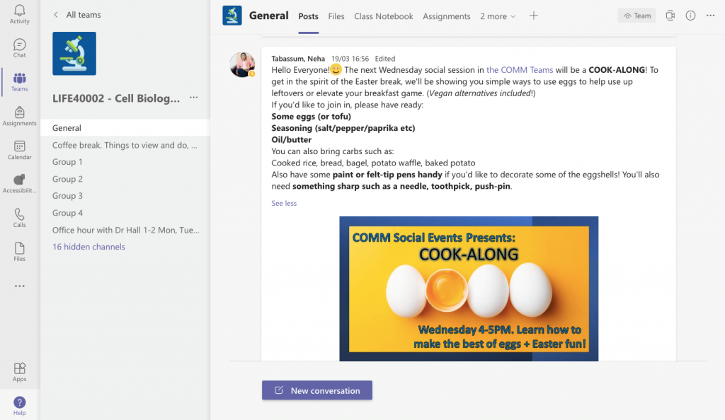 A screenshot from Teams showing how it can be used to encourage cohort collaboration - a tutor has posted a message announcing a virtual Cook-Along social event