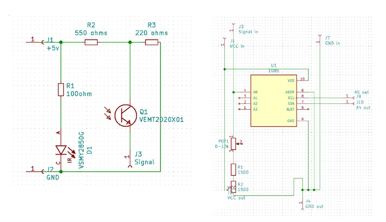 Schematics of the probe (left) and amplifier (right)