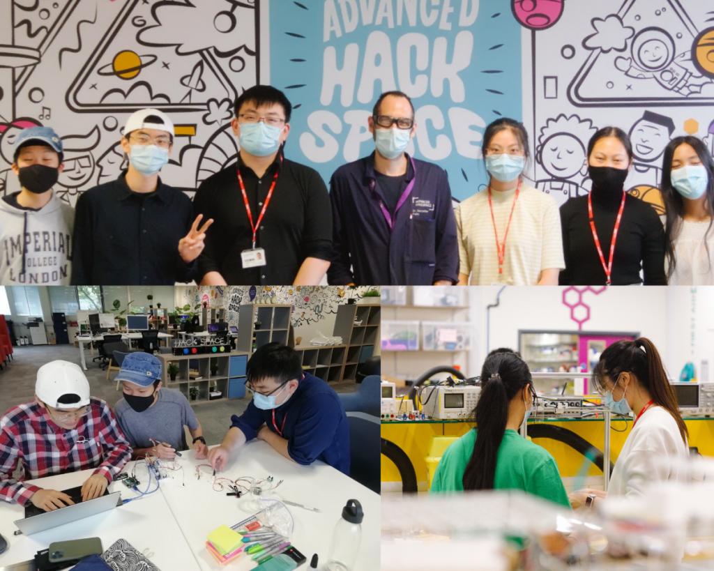 The 2021 Hackathon teams working in the Hackspace