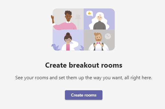 Screenshot of breakout rooms tab - create rooms