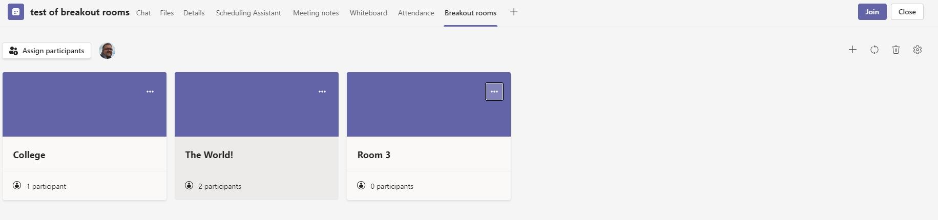 Editing General Breakout Rooms settings