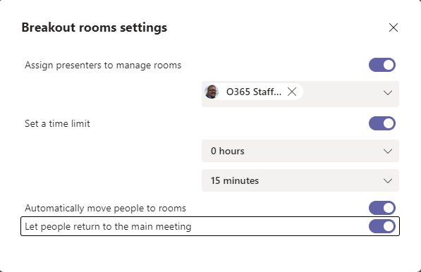 Setting co-orgainisers and other general breakout room settings