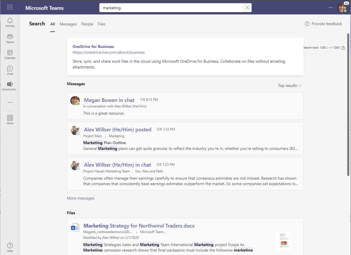 Screenshot of new Teams Desktop Search results