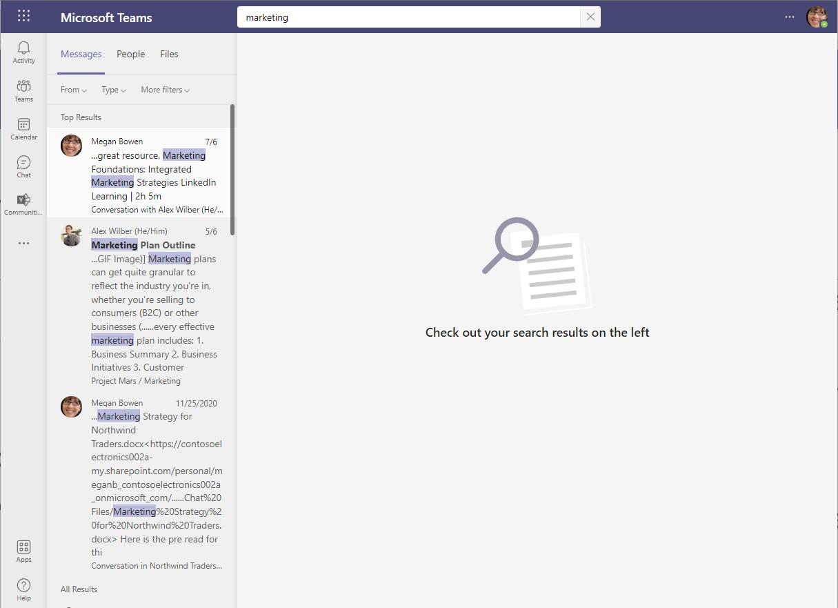 Screenshot of current Teams Desktop Search