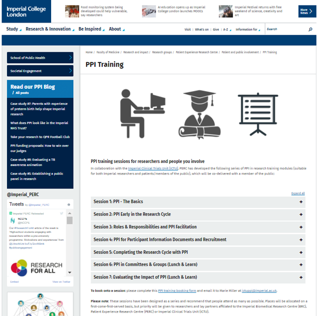 PPI Training sub-page screenshot