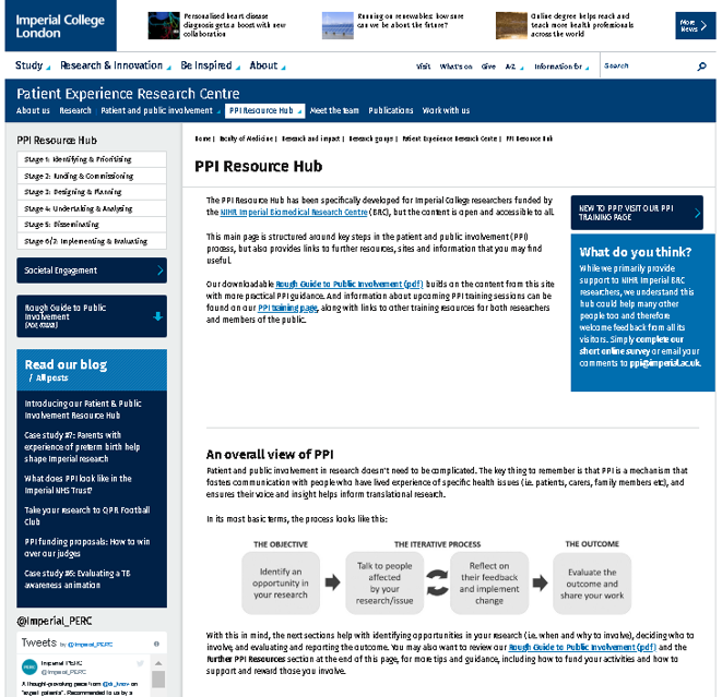 Screenshot of Resource Hub homepage