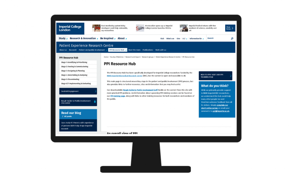 Computer screen icon inset with screenshot of PPI Resource Hub