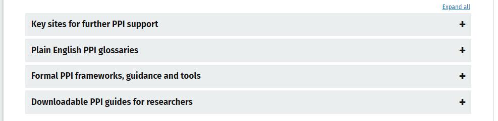 Screenshot of expandable button on hub homepage